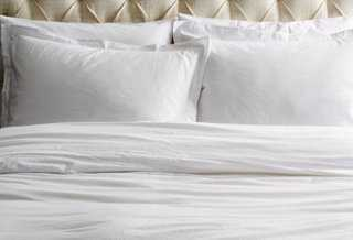 Washed Cotton Queen Duvet Set, White - One Kings Lane