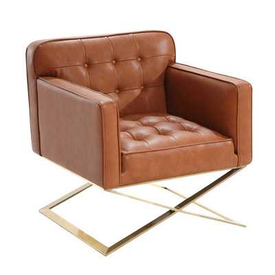 Armen Living Chilton Modern Chair In Brown Leatherette and Gold Finish - Overstock