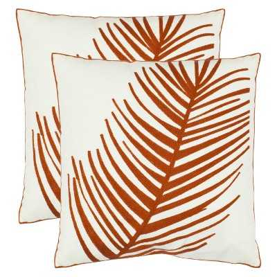 Safavieh 2-Pack Embroidered Orange Feather Throw Pillows - 18 x 18 with insert - Target
