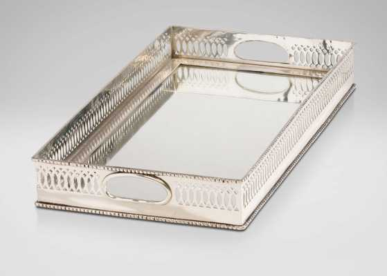 Traditional Mirrored Silver Tray - Ethan Allen