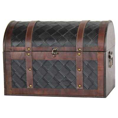Wood and Leather Domed Treasure Chest - Overstock