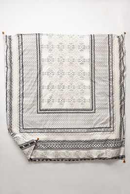 Enmore Embroidered Duvet - Black & White - Full - Anthropologie