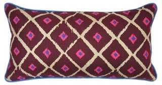 Valencia 14x26 Linen Pillow, Burgundy - One Kings Lane