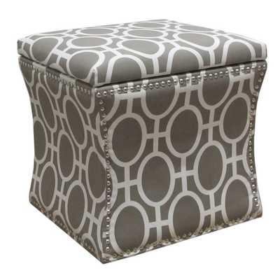 Skyline Furniture Nail Button Storage Ottoman in Trellis Brindle - Overstock