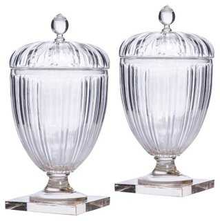 S/2 Franz Ripple Jars - One Kings Lane