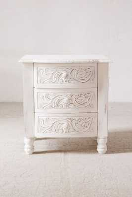 Riya Carved Wood Nightstand-White - Urban Outfitters