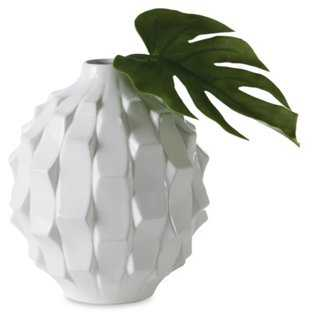 "10"" Pino Wedge Vase - White - One Kings Lane"