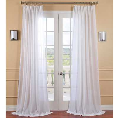 EFF White Orchid Faux Linen Sheer Curtain Panel - Overstock