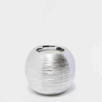 STRIPED SILVER-PLATED CERAMIC TEALIGHT HOLDER - Zara Home