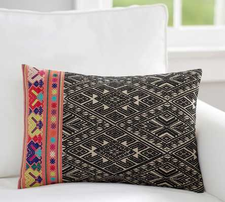 """Mila Embroidered Lumbar Pillow Cover - 14"""" x 20"""" - Insert sold separately - Pottery Barn"""