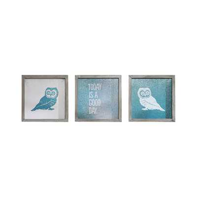 Wise As An Owl by Evangeline Taylor 3 Piece Framed Painting Print Setby Intelligent Design - Wayfair