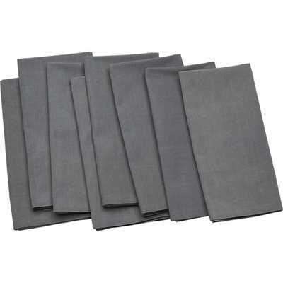 Set of 8 poplin grey napkins - CB2