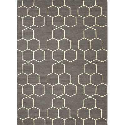 Handmade Flat Weave Geometric Gray Wool Rug (5' x 8') - Overstock