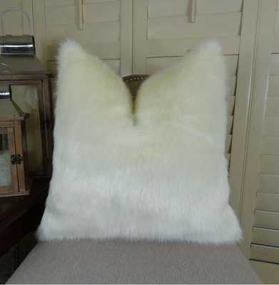 """Ivory Faux Fur Throw Pillow - 24""""Sq. - No Insert - Etsy"""