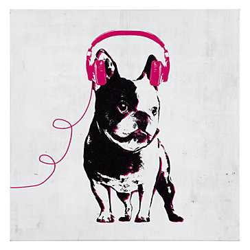 Music Love French Bull Dog - 12''W x 12''H - Unframed - Z Gallerie