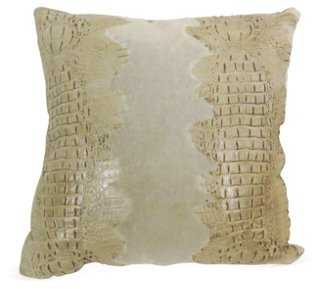 Croc Suede Pillow, Oyster - One Kings Lane
