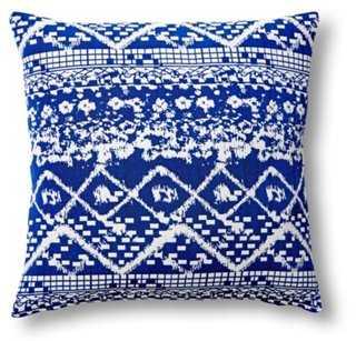Ada 20x20 Cotton Pillow, White/Blue - One Kings Lane