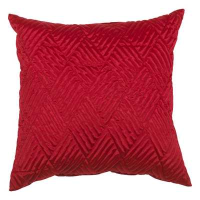 Urban Loft Quilted Solid Throw Pillow - Red - 20sq. - Feather Insert - AllModern