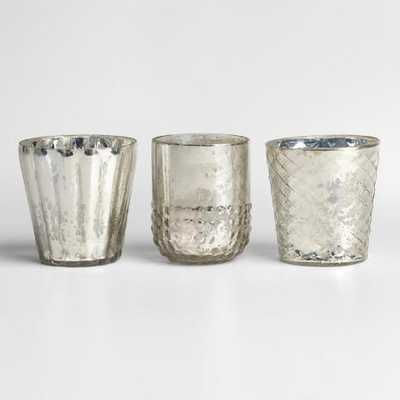 Silver Mercury Glass Votive Candleholders, Set of 3 - World Market/Cost Plus
