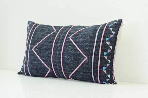 "Indigo Lumbar Pillow Case 12"" x 20"", Insert sold separately - Etsy"