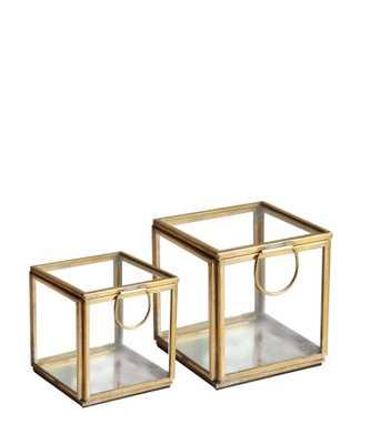 "Brass & Glass Mirror Boxes - 4.5"" - High Street Market"