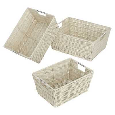 Whitmor Rattique Nesting Decorative Basket Set of 3 - White - Target