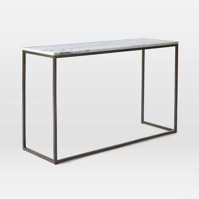 Box Frame Skinny Console - Marble/Antique Bronze - West Elm