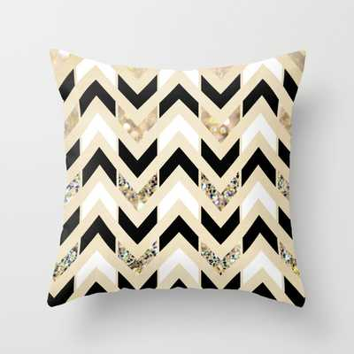 Black, White & Gold Glitter Herringbone Chevron on Nude Cream - 18x18 - With Polyester insert - Society6
