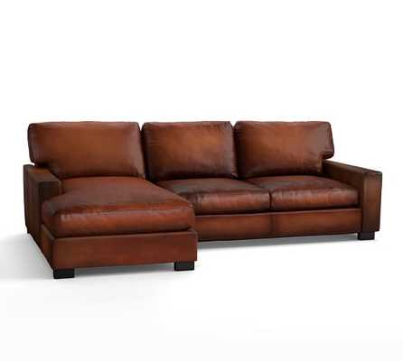 Turner Square Arm Leather 2-Piece Right Chaise Sectional - Pottery Barn