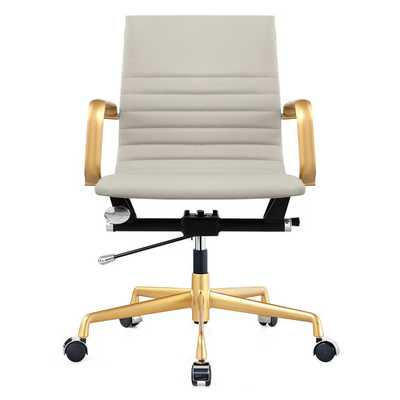Vegan Leather Mid-Back Office Chair with Arms - AllModern