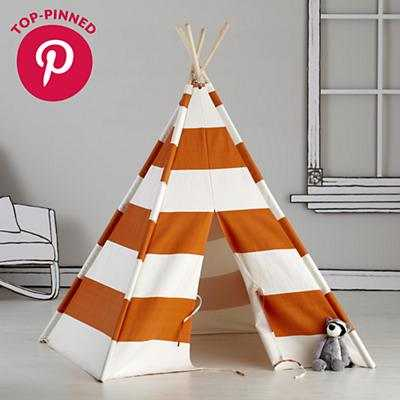 A Teepee to Call Your Own - Orange Stripe - Land of Nod