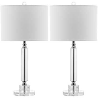 Safavieh Indoor 1-light Deco White Shade Column Crystal Table Lamp (Set of 2) - Overstock