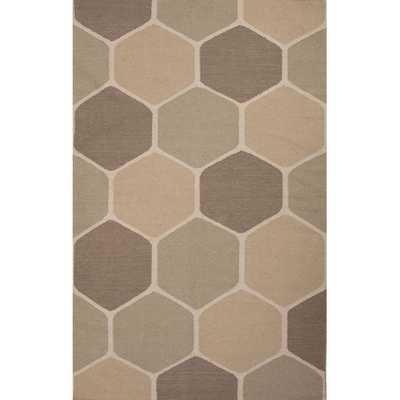 Flat Weave Geometric Pattern Grey/ Beige Wool Area Rug - Overstock