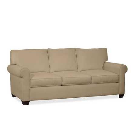 Buchanan Roll Arm Upholstered Sofa-Twill, Walnut-Sofa - Pottery Barn
