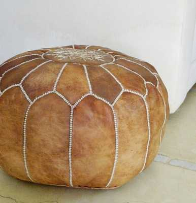 Tan Moroccan Leather Pouf, Foot Stool, Brown - Etsy