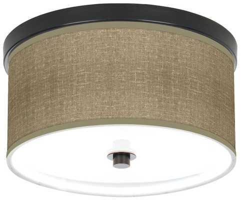 "Burlap Print 10 1/4"" Wide Bronze Ceiling Light - Lamps Plus"