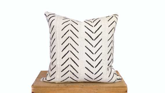 18 Inch White African Mud Cloth Pillow Cover - Etsy