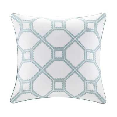 "Flourish Cotton Throw Pillow - White - 18"" H x 18"" W x 5"" D - Polyester/Polyfill insert - Wayfair"
