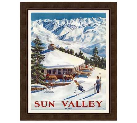 "FRAMED SUN VALLEY VINTAGE SKI POSTER- 26"" W x 32"" Hx 0.75"" T- Framed - Pottery Barn"