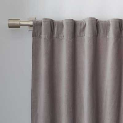 Velvet Pole Pocket Curtain - Dove Gray - West Elm