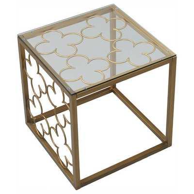 Quatrefoil Goldtone End Table - Overstock