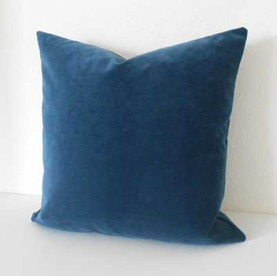 Indigo Blue velvet decorative pillow - 18 x 18 - Insert Sold Separately - Etsy