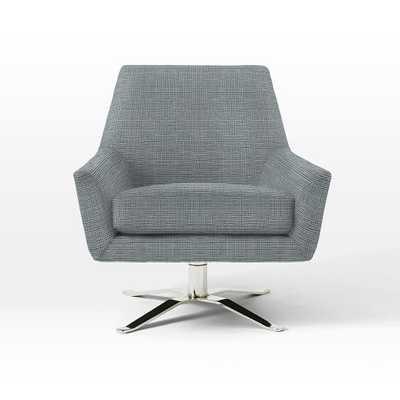Lucas Swivel Base Chair - Prints, Crossweave, Ming Blue - West Elm