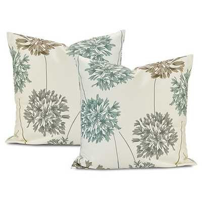 Half Price Drapes Allium Blue and Gray Printed Cotton Cushion Cover, Set of Two - Bellacor