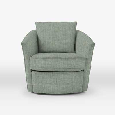 Duffield Swivel Chair - Marled Tweed, Marine - West Elm