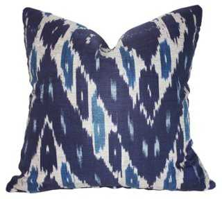 Mary 20x20 Cotton Pillow, Navy- Feather/down insert - One Kings Lane