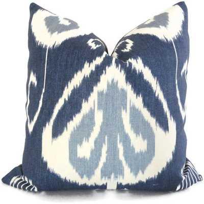 "Indigo Ikat Decorative Pillow Cover - 20"" x 20"" - Insert Sold Separately - Etsy"