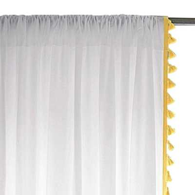 "French Tassel Window Panel – Maize-96"" - Domino"