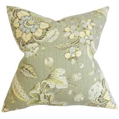 Eluned Floral Down Filled Throw Pillow Green - Overstock