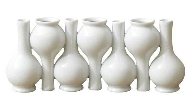 Chinoise Up Down Long Neck Bud Vase-White Crackle - Domino